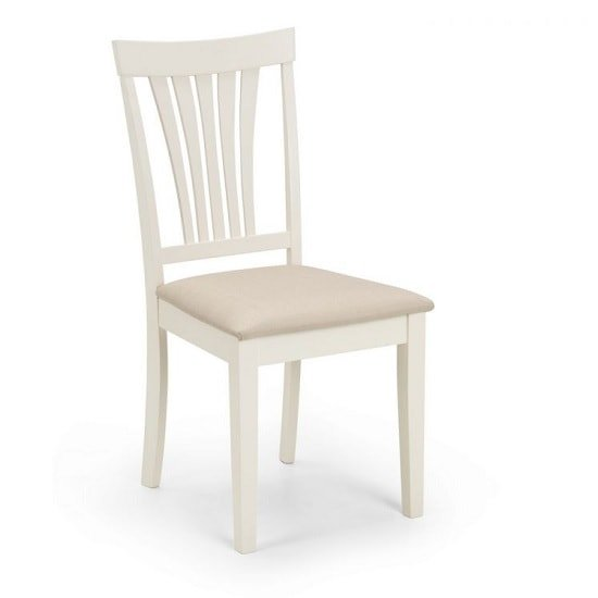 View Cameo dining chair in taupe linen effect seat with ivory finish