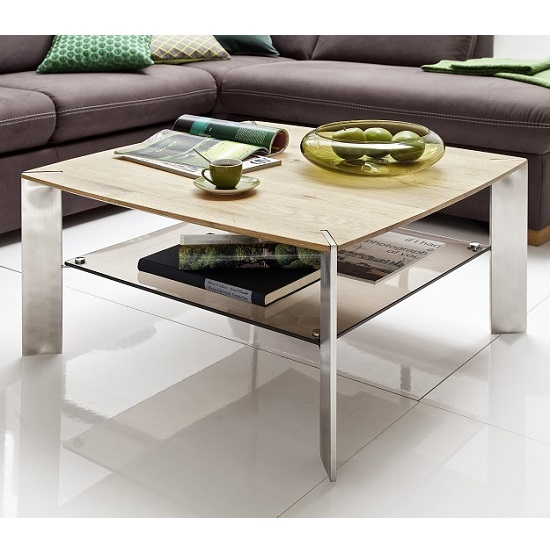 View Camilla wooden coffee table square in knotty oak with metal legs