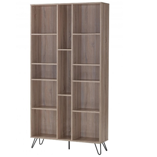 View Canell wooden bookcase wide in oak effect with black metal legs