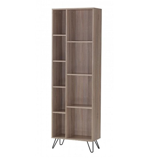 View Canell wooden bookcase in oak effect with black metal legs