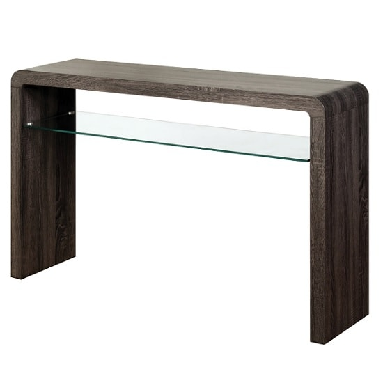 View Cannock large console table in charcoal with 1 glass shelf