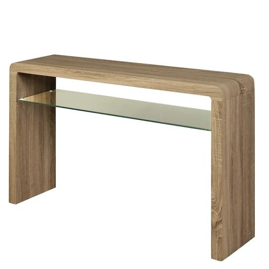 View Cannock large console table in havana oak with 1 glass shelf