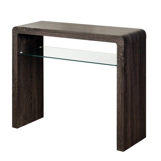 View Cannock medium console table in charcoal with 1 glass shelf