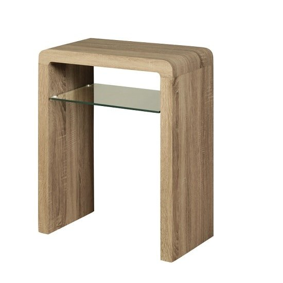 View Cannock small console table in havana oak with 1 glass shelf