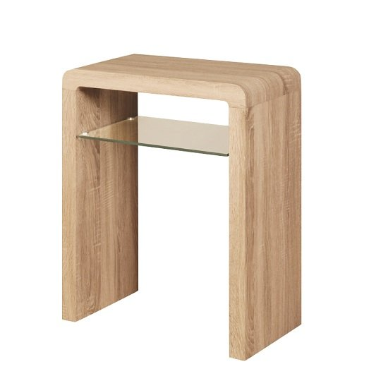 View Cannock small console table in sonoma oak with glass shelf