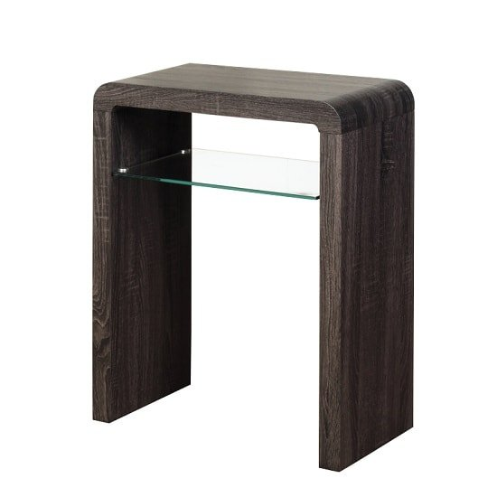 View Cannock small console table in charcoal with 1 glass shelf