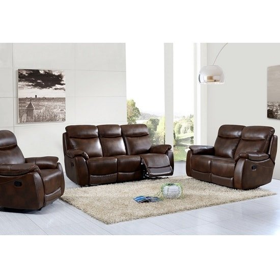 View Canton recliner sofa suite in tan faux leather