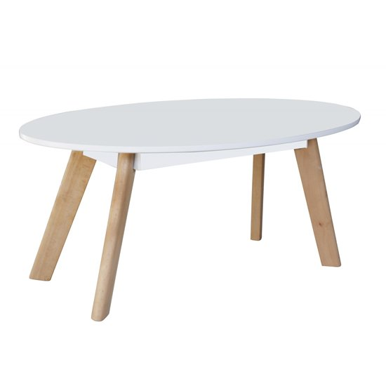 View Canum wooden oval coffee table in white