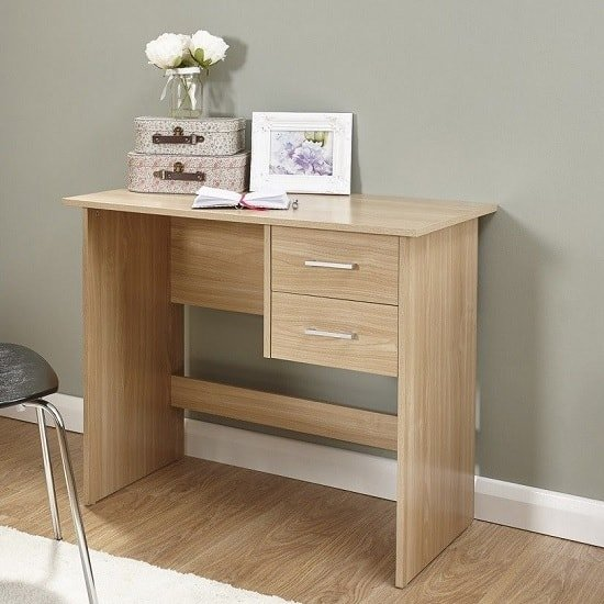 View Carlow wooden computer desk in oak with 2 drawers
