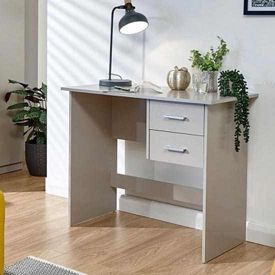 View Carlow wooden laptop desk in grey with 2 drawers