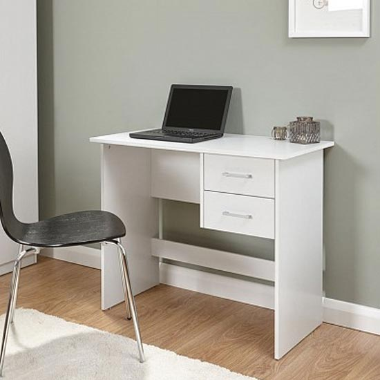 View Carlow wooden laptop desk in white with 2 drawers