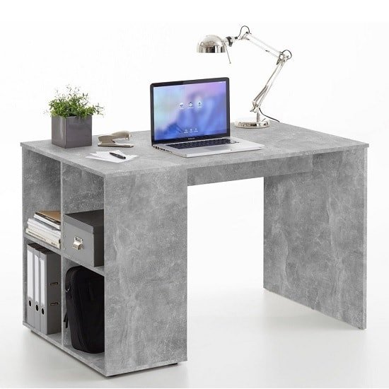 View Caroline computer desk in concrete effect with 4 compartments