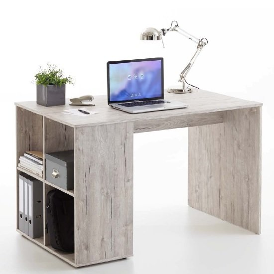 View Caroline wooden computer desk in sand oak with 4 compartments