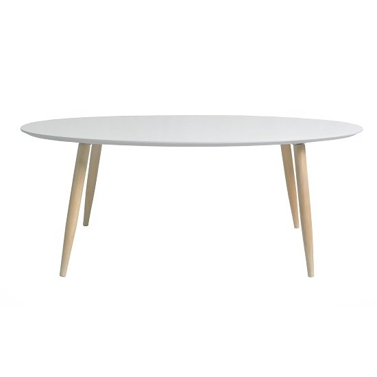 View Carter wooden coffee table oval in white