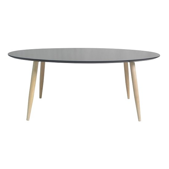 View Carter wooden coffee table oval in black