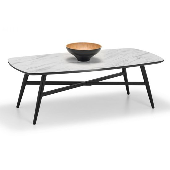 View Caruso rectangular marble coffee table in matt white