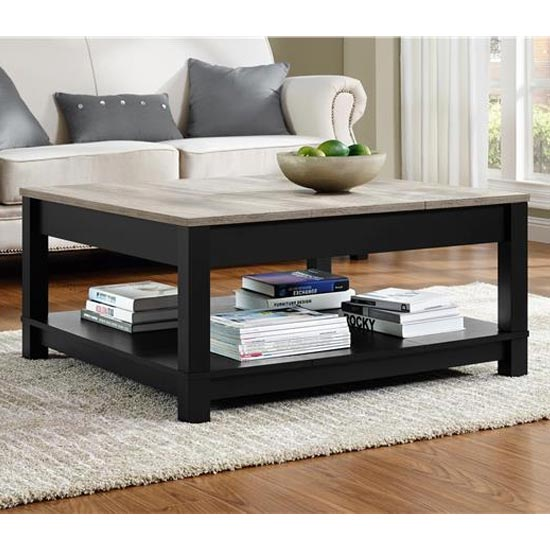 View Carver wooden coffee table in black and weathered oak