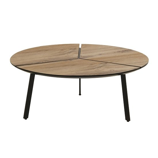 View Cashel round coffee table in oak effect with black legs
