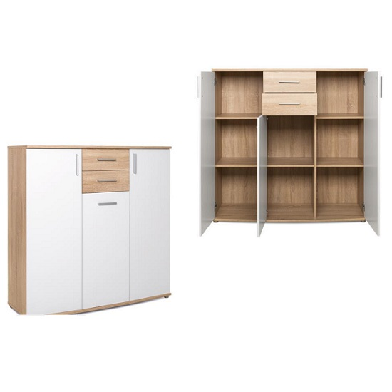 View Casino wooden highboard in sonoma oak and white with 3 doors