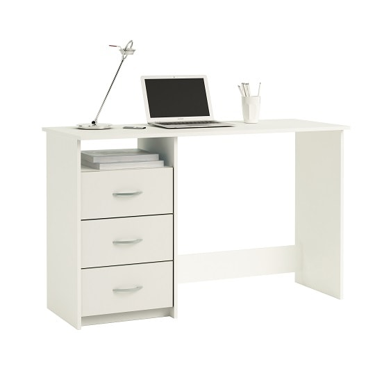 View Caspa computer desk rectangular in pearl white with 3 drawers