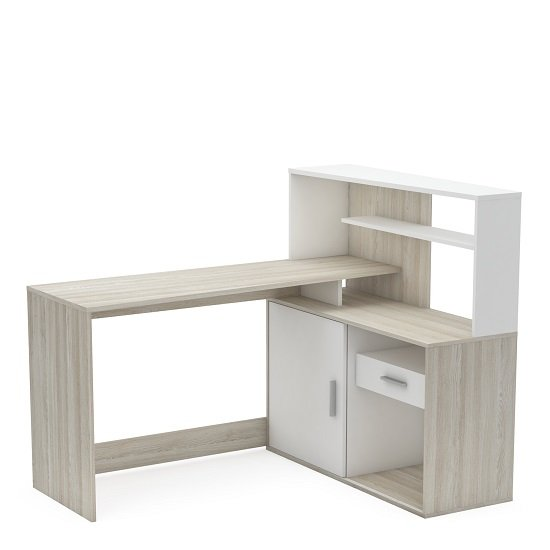 View Cavalli corner computer desk in shannon oak and pearl white