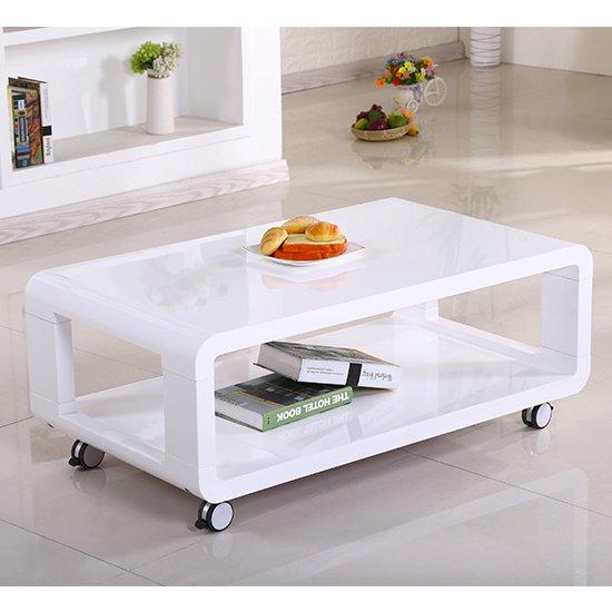 View Cedar wooden coffee table white high gloss