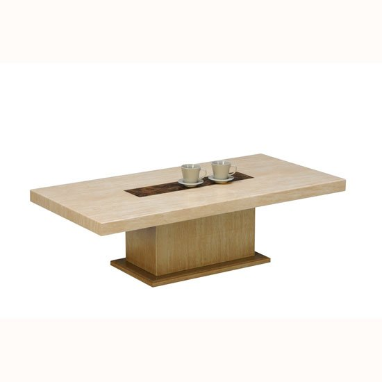 View Celine coffee table in marble top with wooden base