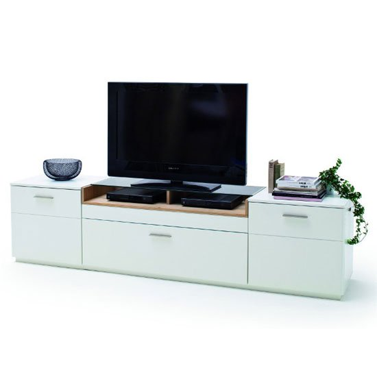 View Cesina wooden large tv unit in oak and white