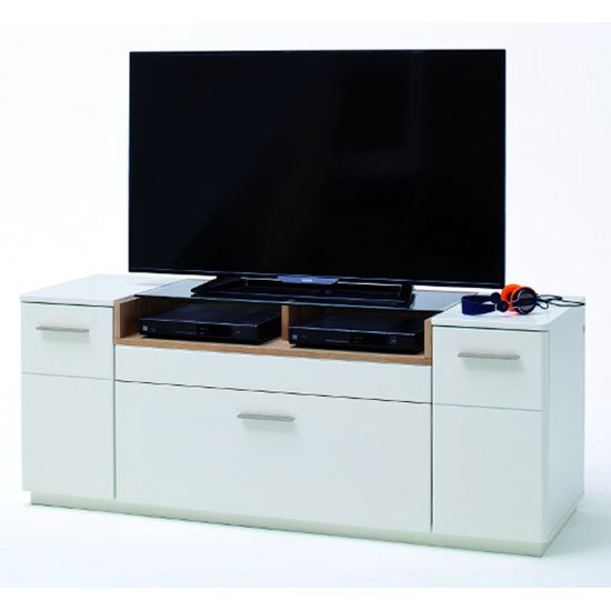 View Cesina wooden small tv unit in oak and white