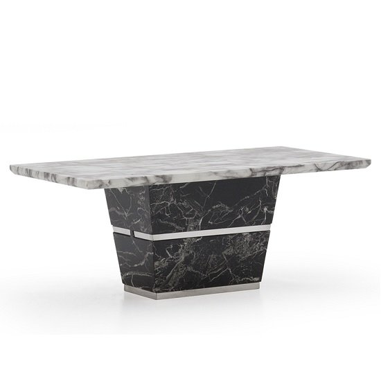 View Chrysla marble coffee table in white and black