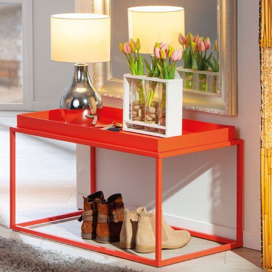 View Club ny metal coffee table in juicy orange red