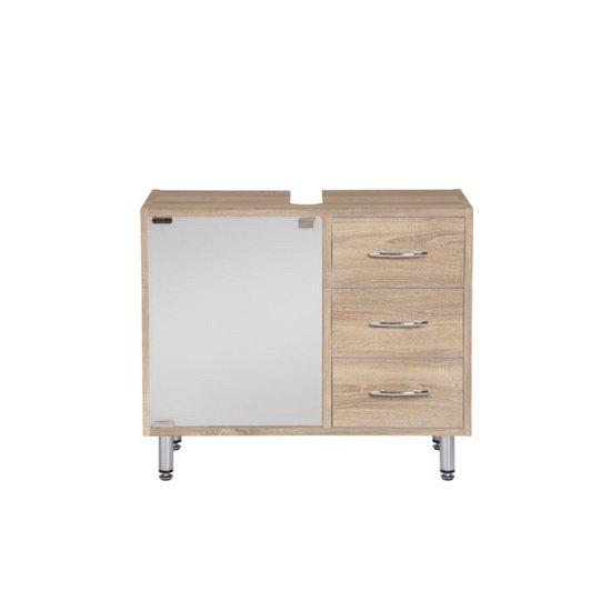 View Cobham bathroom vanity cabinet in sonoma oak effect