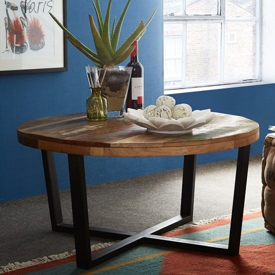 View Coburg wooden coffee table round in reclaimed wood