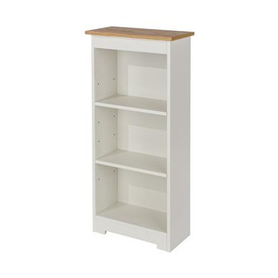View Colorado low narrow bookcase in white with adjustable shelves
