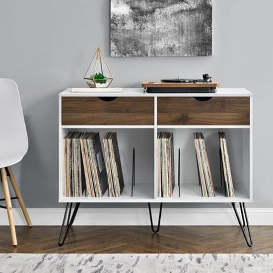 View Concord turntable bookcase in white and oak with 2 drawers