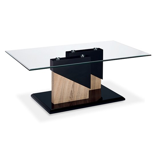 View Coopers clear glass coffee table with black and natural base