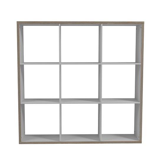 View Coran bookcase in sonoma oak and white with 9 compartments