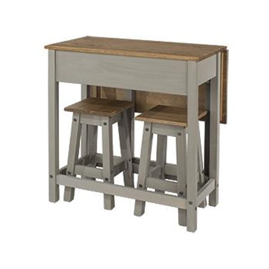 View Corina drop leaf dining set in grey with 2 stools