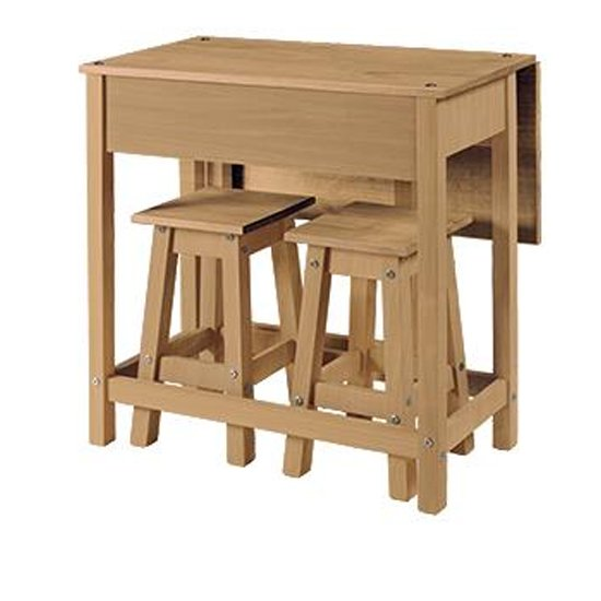 View Corina drop leaf dining set in oak with 2 stools
