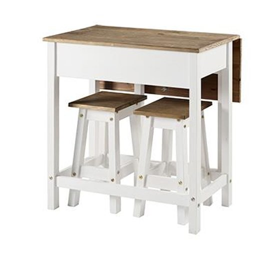 View Corina white drop leaf dining set with 2 stools