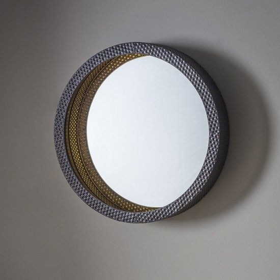 View Corrick wall mirror round in hammered effect