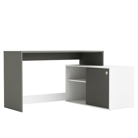 View Corsica corner computer desk in graphite grey and white