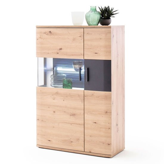 View Cortona led wooden highboard in planked oak with 2 doors