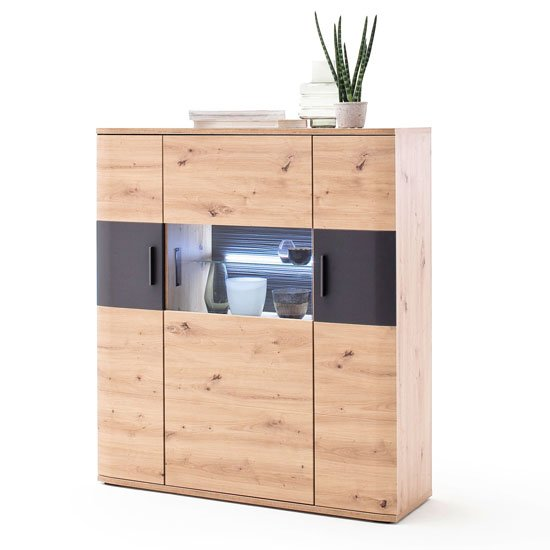 View Cortona led wooden highboard in planked oak with 3 doors