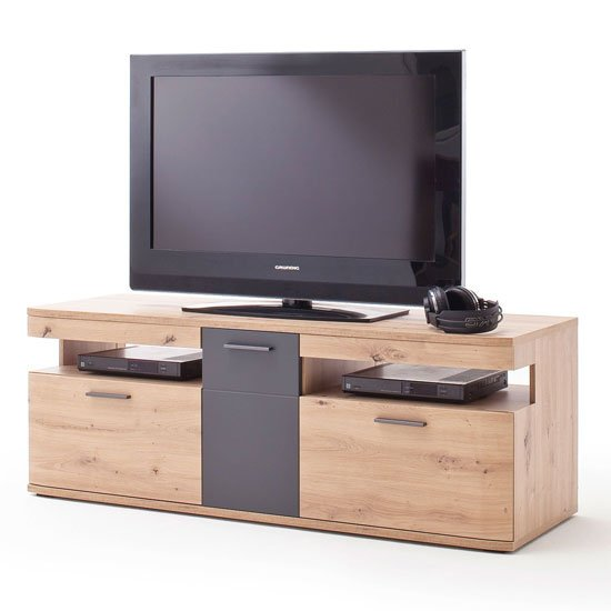 View Cortona wooden small tv unit in planked oak