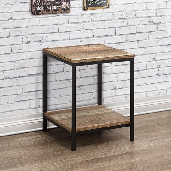 View Coruna wooden lamp table in rustic and metal frame