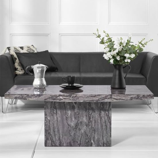 View Coruna marble coffee table in grey high gloss