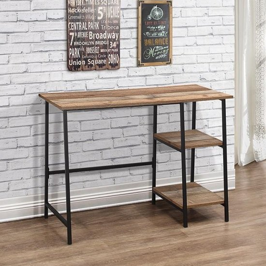 View Coruna wooden computer desk in rustic and metal frame