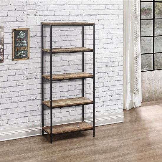 View Coruna wooden bookcase tall in rustic and metal frame