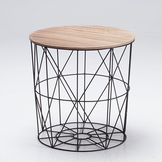 View Cosmo black cage coffee table with oak finish top